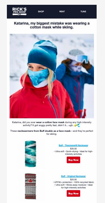 Digital marketing portfolio - Email facemask example